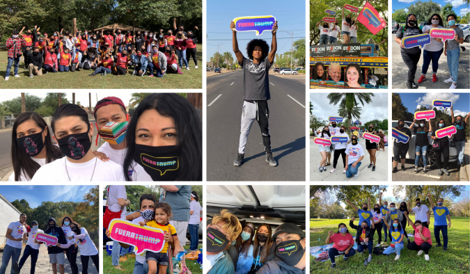 """Collage of various photos of Black and Brown organizers across the Southeastern US and Arizona holding """"Fuera Trump"""" signs, banners, or wearing """"Fuera Trump"""" masks, in various outdoor settings."""
